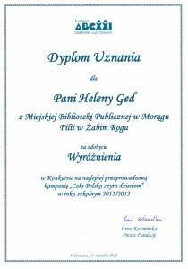 Dyplom uznania dla pani Heleny Ged