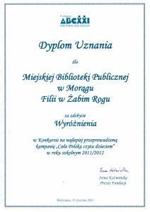 Dyplom uznania dla Filii w Żabim Rogu