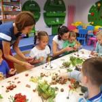 Dzieci wykonują pracę z patykami i kasztanami