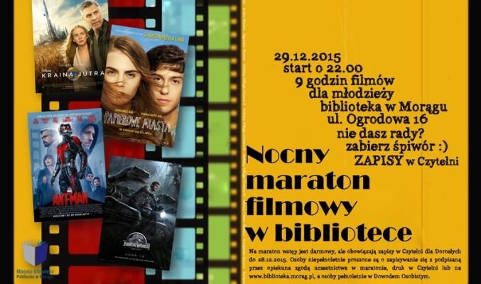 Plakat ,,Nocny maraton filmowy w bibliotece''