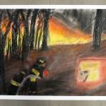 Praca przedstawiająca gaszenie pożaru