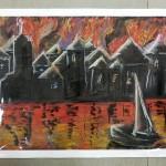 Praca pokazująca pożar lasu