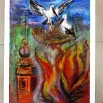 Jedna z prac przedstawiająca pożar zagrażający bocianom