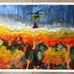 Jedna z prac pokazująca próbę zgaszenia pożaru w lesie