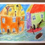 Obraz pokazujący pracę strażaków w czasie powodzi