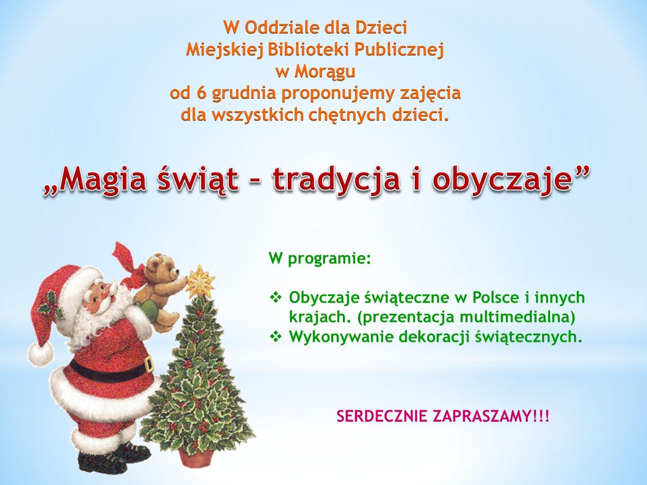 """Plakat zajeć """"Magia świąt - tradycja i obyczaje"""""""