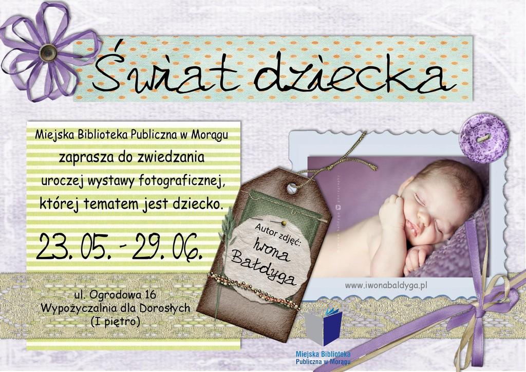 """Plakat wystawy """"Swiat dziecka"""", na plakacie śpiące niemowlę"""