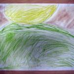 Praca plastyczna - słońce i łąka