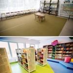 Fotografia Oddziału dla Dzieci (regały z książkami) - sprzed i po remoncie