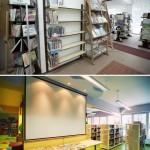 Fotografia Oddziału dla Dzieci (ściana projekcyjna) - sprzed i po remoncie