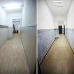 Fotografia korytarza do toalet - sprzed i po remoncie