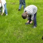 Dziec badają trawę przy użyciu lupy