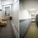 Fotografia kotytarza na pierwszym piętrze - sprzed i po remoncie