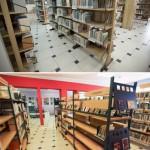 Fotografia Wypożyczalni dla Dorosłych (regały z książkami) - sprzed i po remoncie