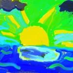 Praca plastyczna - zachodzące słońce nad morzem