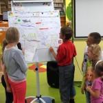 Dzieci na flipcharcie prezentują swoją grę planszową i ją objaśniają