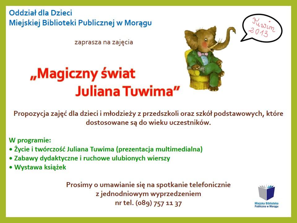 """Plakat zajęć """"Magiczny świat Juliana Tuwim"""", na plakacie rysunek słonia we fraku siedzącego na fotelu"""