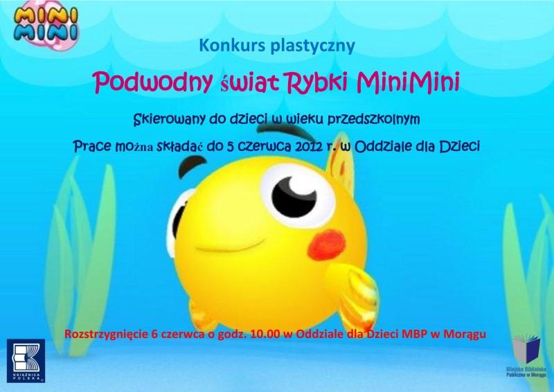 """Plakat konkursu """"Podwodny świat rybki MiniMini"""", w tle rybka z kreskówki"""