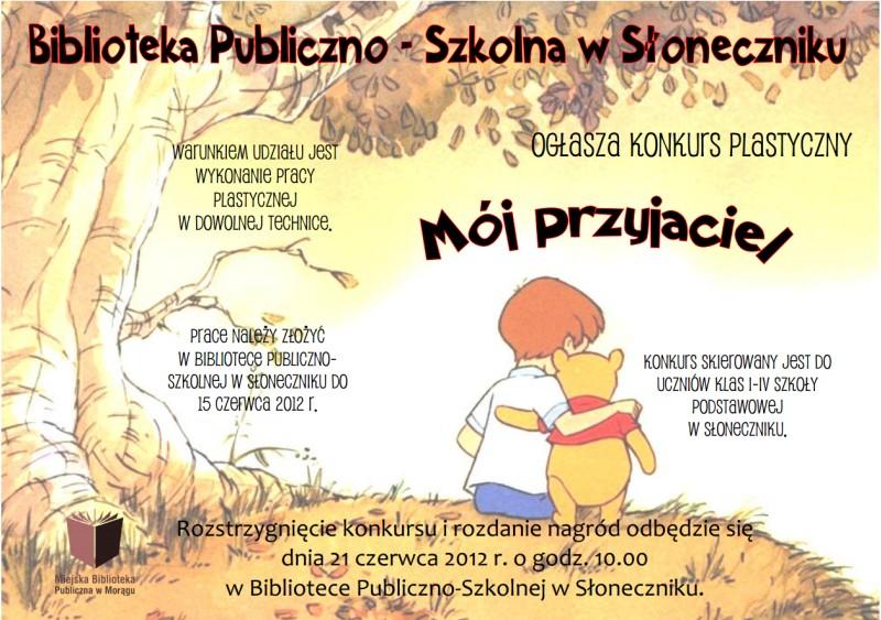 """Plakat konkursu """"Mój przyjaciel"""", w tle Krzyś i Puchatek siedzą pod drzewem"""
