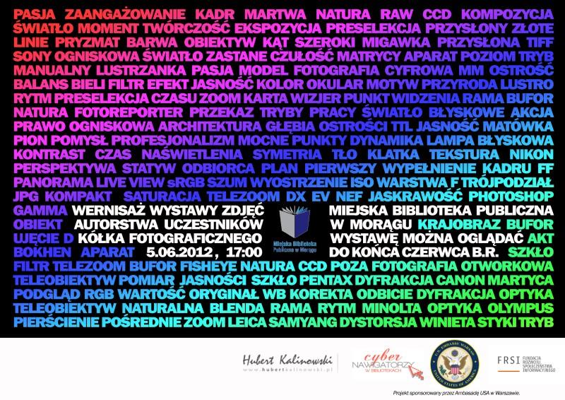 Plakat wystawy Kółka Fotograficzne, plakat utworzony z ciągu kolorowych wyrazów