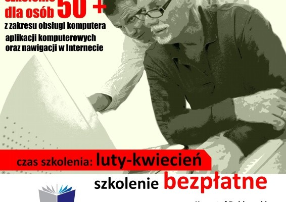 Plakat zachęcający na szkolenie, w tle senior i nauczyciel przy komputerze
