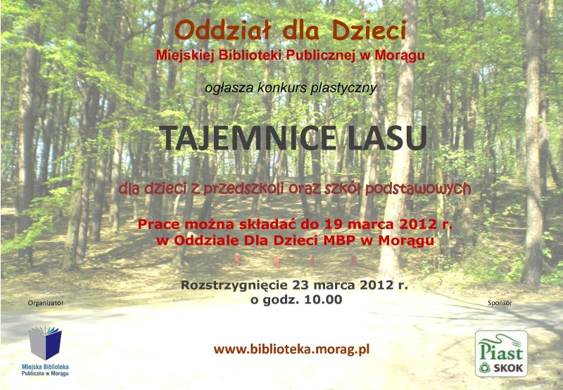 "Plakat konkursu ""Tajemnice lasu"", w tle las liściasty"