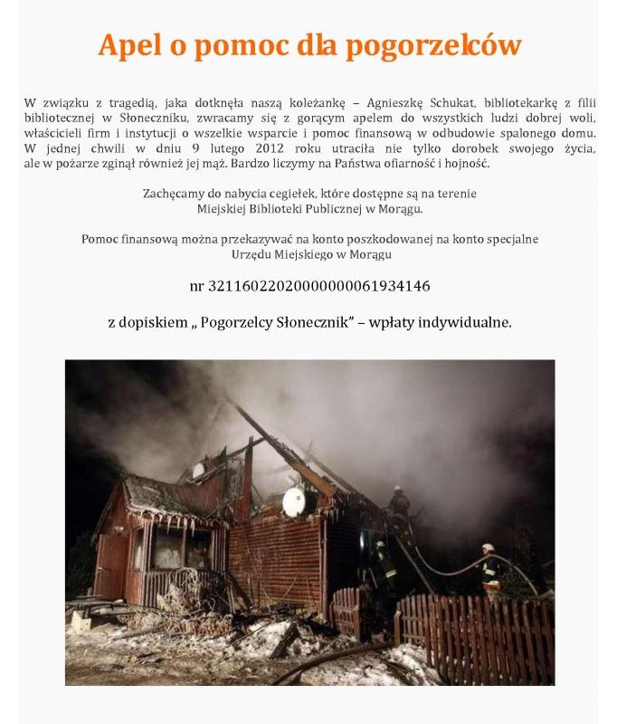 Plakat z prośbą o pomoc, na dole fotografia spalonego domu