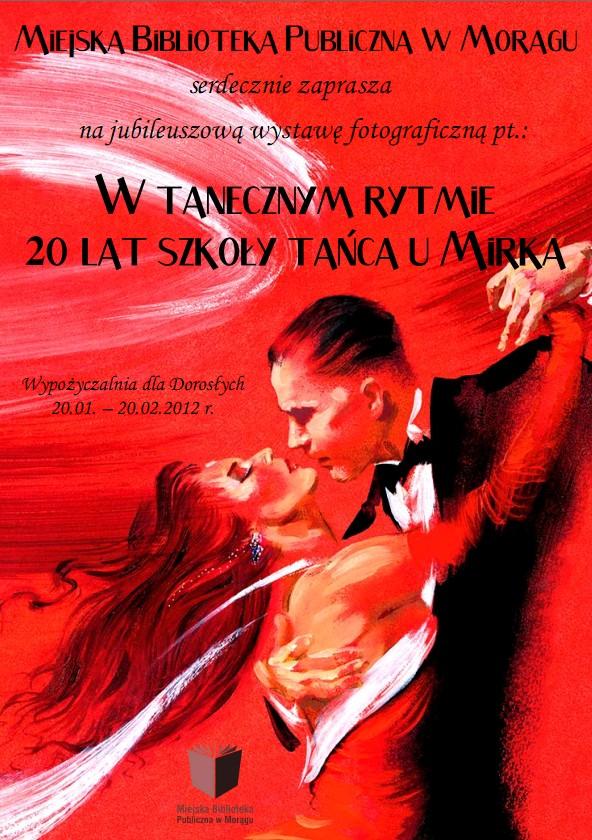 """Plakat """"W tanecznym rytmie"""", w tle rysunek pary tancerzy"""