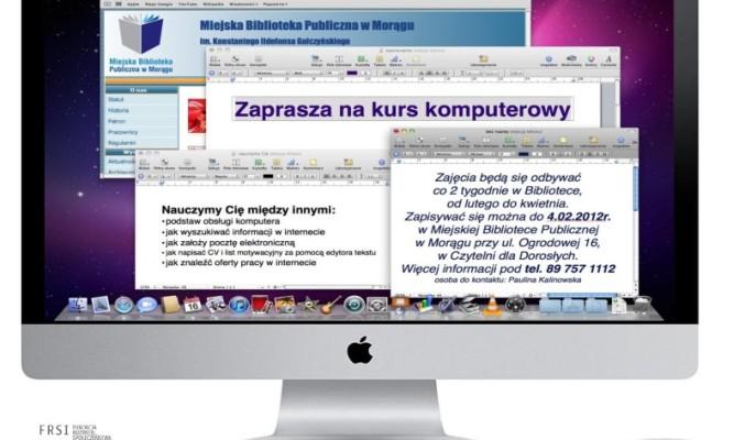 Plakat zapraszający na zajęcia, w tle pulpit komputera iMac