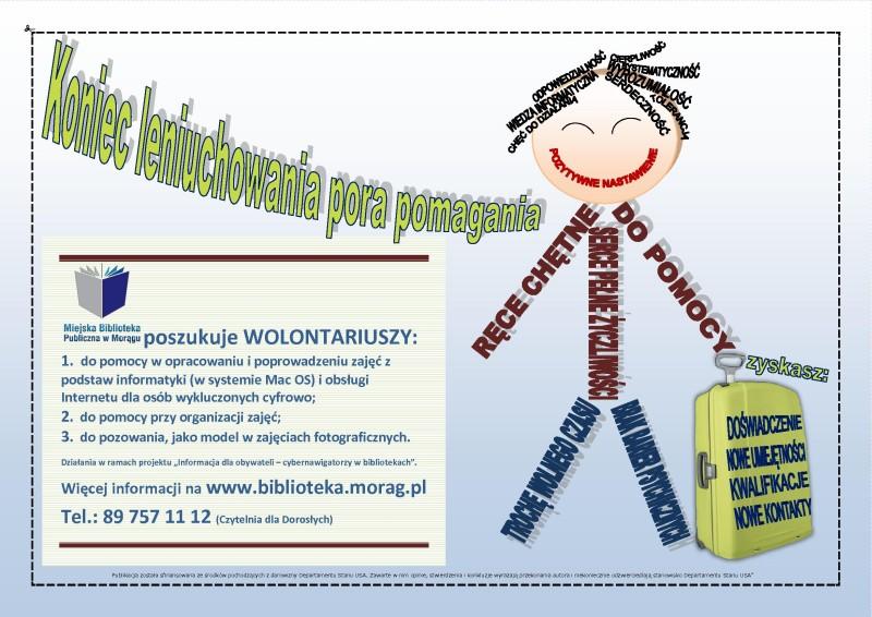 Plakat zachęcający do wolontariatu, w tle ludzik utworzony z wyrazów