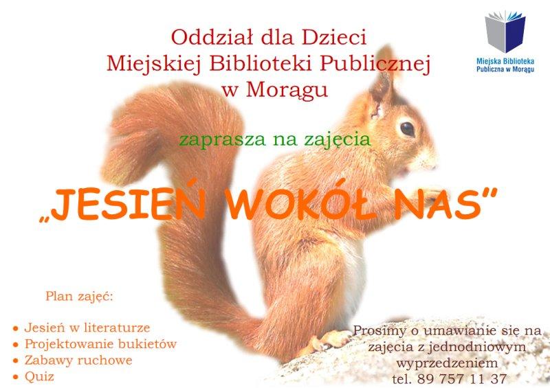 """Plakat """"Jesień wokół nas"""", w tle wiewiórka"""