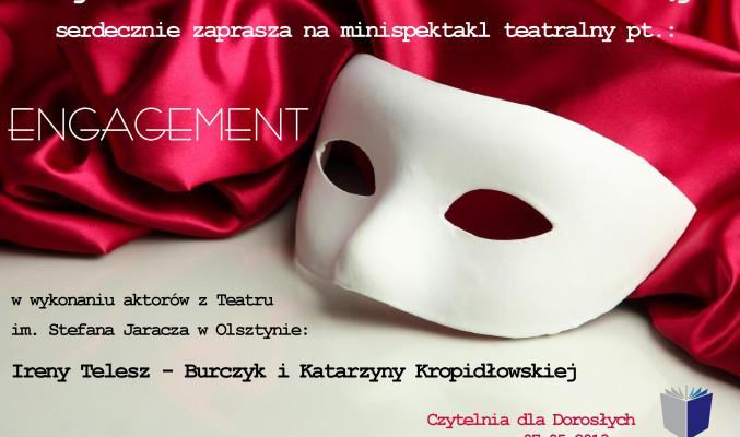 Plakat zapraszający na spektakl, w tle maska teatralna
