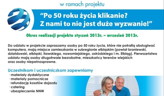 """Plakat informujący o szkoleniu """"IT Grzegorz Chojnacki zaprasza osoby po 50 roku życia do wzięcia udziału w bezpłatnych szkoleniach z obsługi komputera Europejski Certyfikat Umiejętności Komputerowych ECDL Start i ECDL Core"""""""