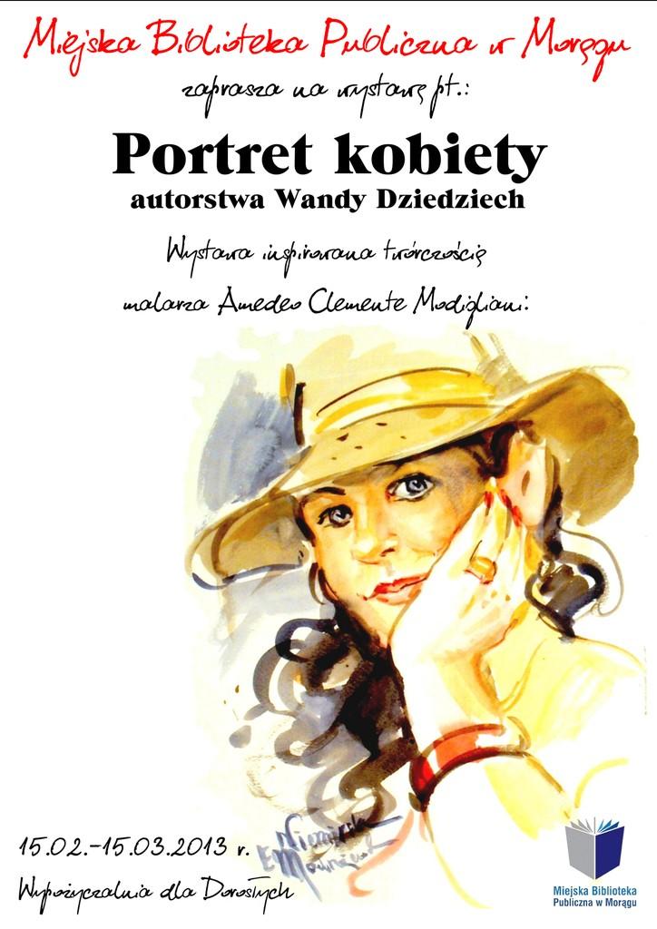 """Plakat wystawy """"Portret kobiety"""", w tle kobieta w kapuluszu podpierająca ręką głowę"""