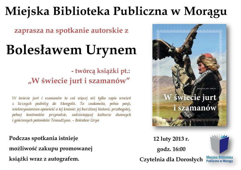 Plakat spotkania autorskiego z Bolesławem Urynem, na plakacie okładka książki autora