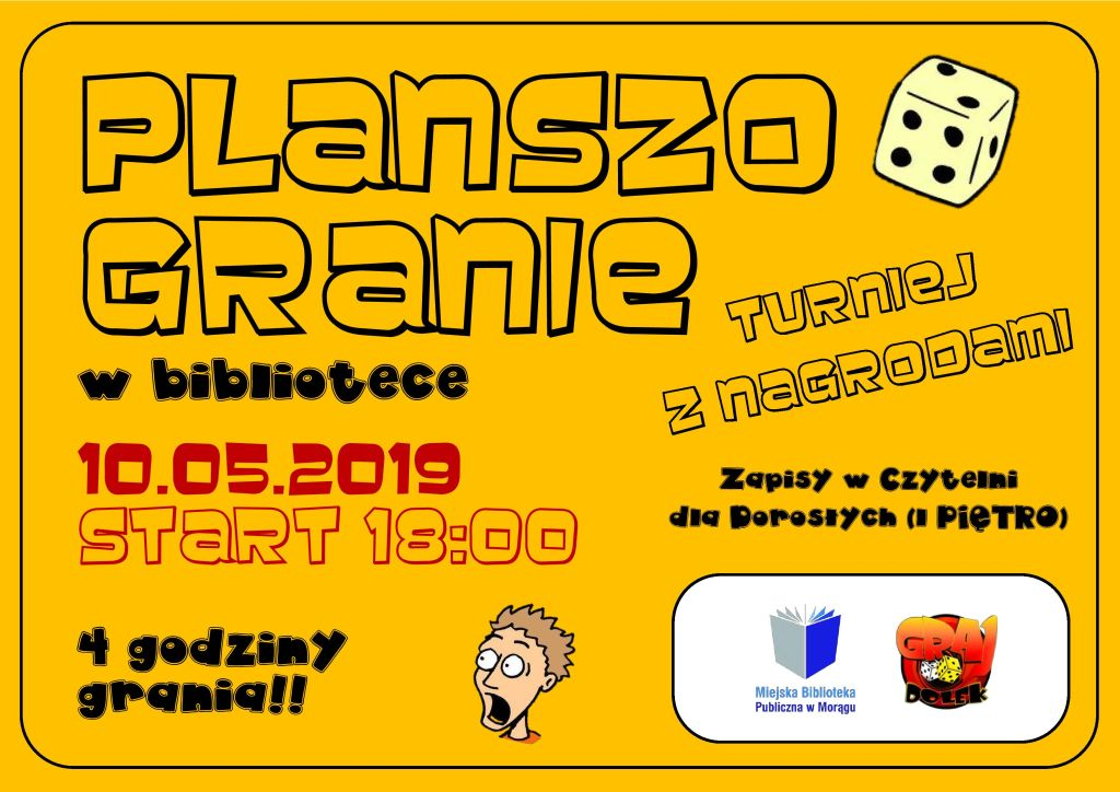 """Plakat promujący inicjatywę """"Planszogranie w bibliotece"""". W prawym dolnym rogu znajduje się logo biblioteki oraz logo GrajDołka."""