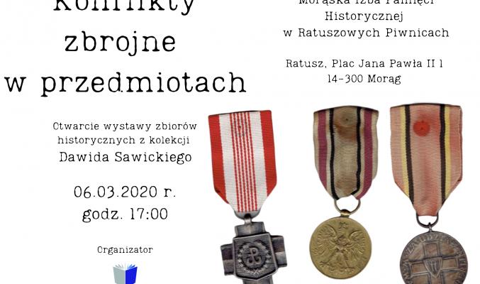 plakat wystawy Konflikty zbrojne w przedmiotach