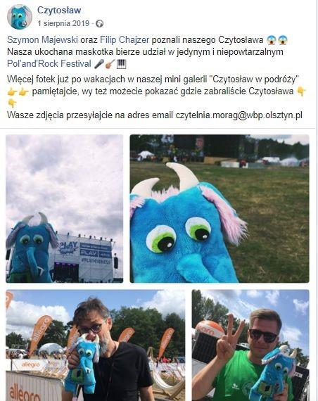 Screen z profilu Czytosława na Facebooku przedstawiający maskotkę podczas festiwalu Pol'and'Rock