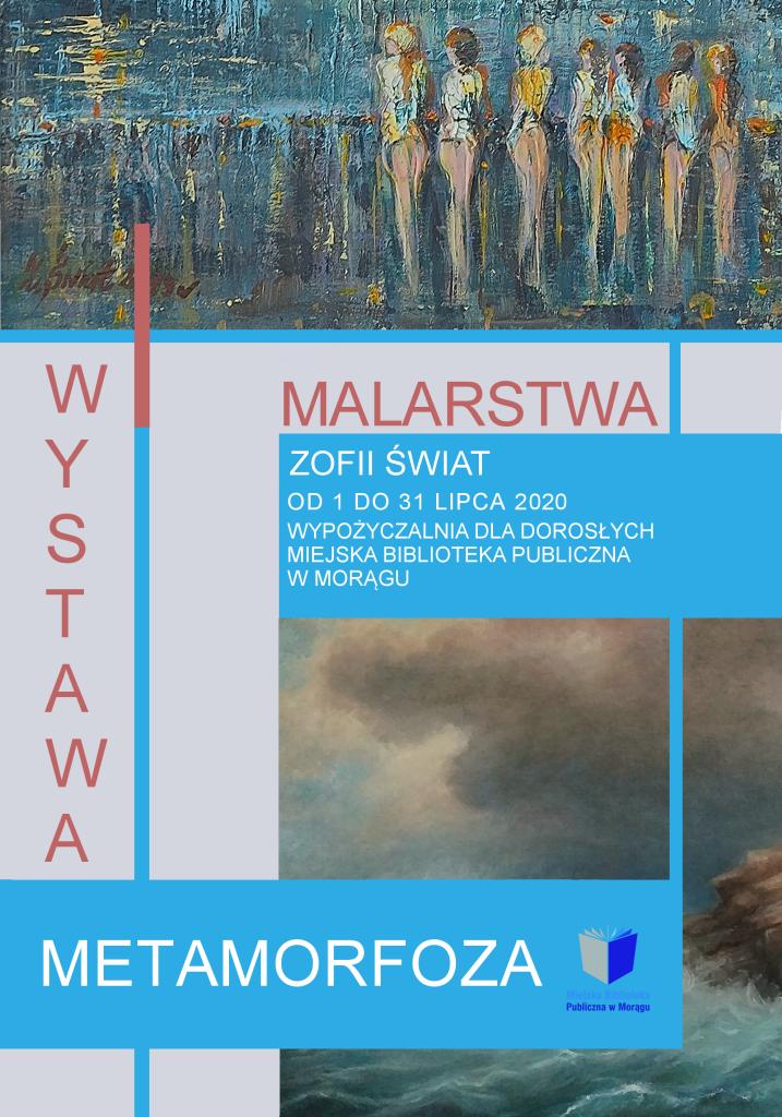 Plakat wystawy marstwa Zofii Świat, na plkacie fragmenty obrazów autorki