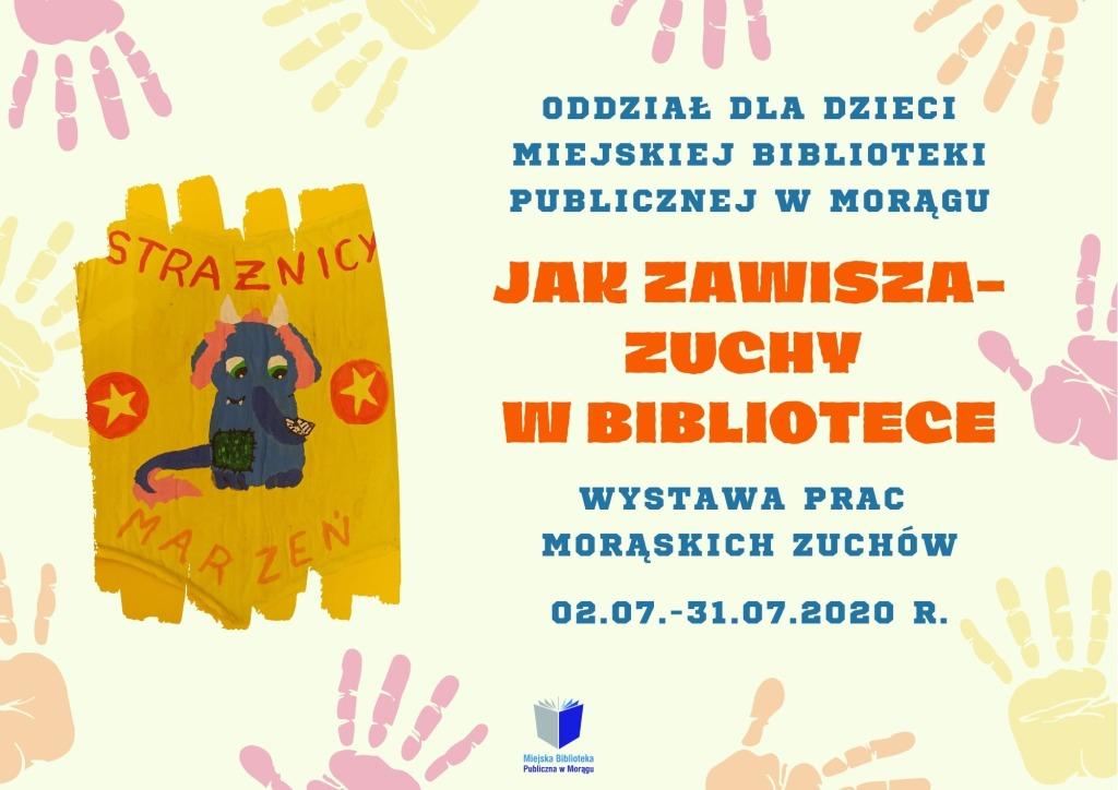 """Plakat wystawy """"Jak zawisza - zuchy w bibliotece"""", na plakacie maskotka Czytosław"""
