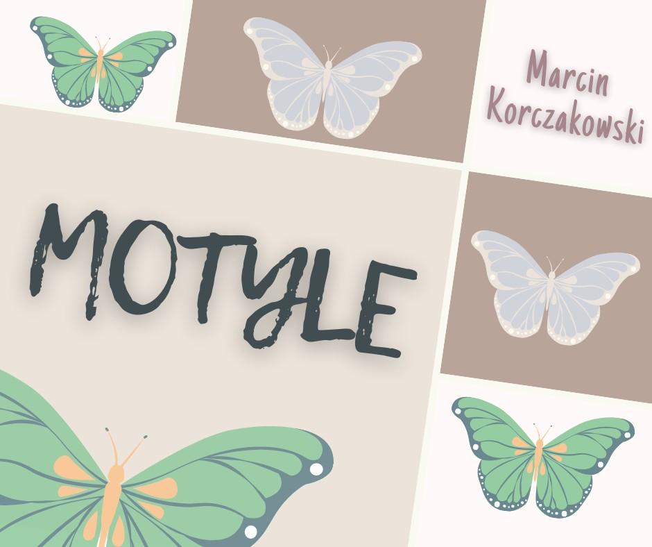 Plakat wystawy entomologicznej Marcina Korczakowskiego, na plakacie rysunki motyli