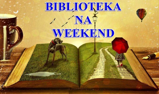 """plakat akcji """"Biblioteka na weekend"""", na plakacie leżąca na stole otwarta książka, od której odstają postacie psa i dziecka z parasolem"""