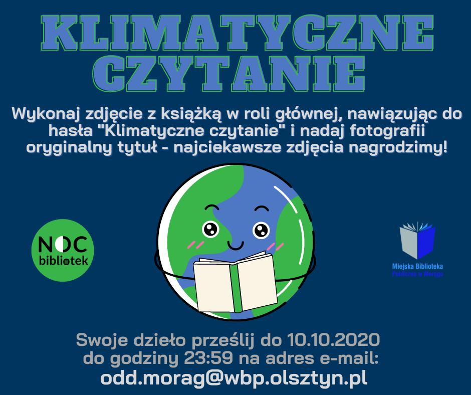 """Plakat konkursu fotograficznego """"Klimatyczne czytanie"""""""