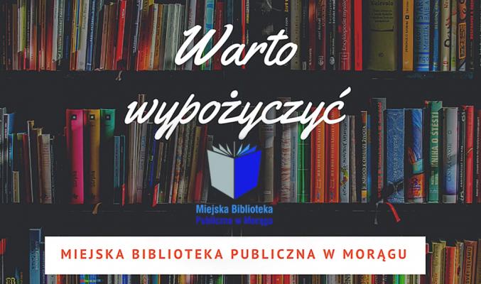 """plakat akcji """"Warto wypożyczyć"""", w tle regał z książkami"""