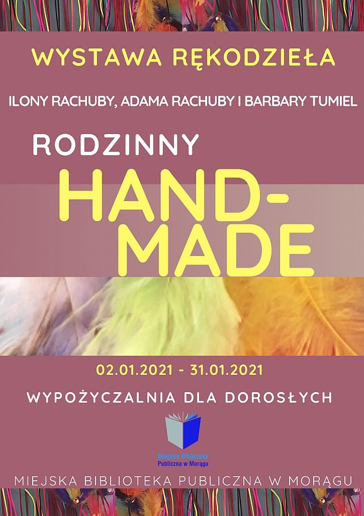 """Plakat wystawy Ilony Rachuby, Adama Rachuby i Barbary Tumiel pt. """"Rodzinny Hand-Made"""", w tle kolorowe sznurki i pióra"""