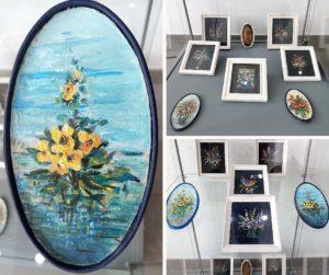 3 fotografie z obrazami bukietów kwiatów