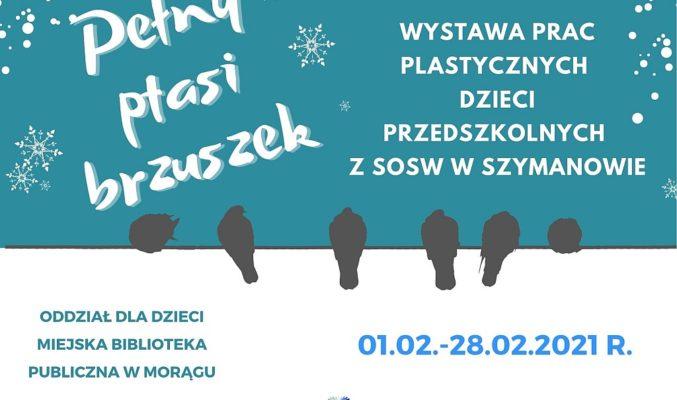 """Plakat wystawy prac plastycznych """"Pełny ptasi brzuszek"""", pośrodku cienie gołębi siedzących na linie"""