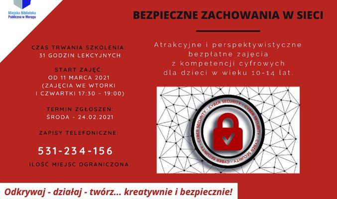 """Plakat warsztatów on-line """"Bezpieczne zachowania w sieci"""""""
