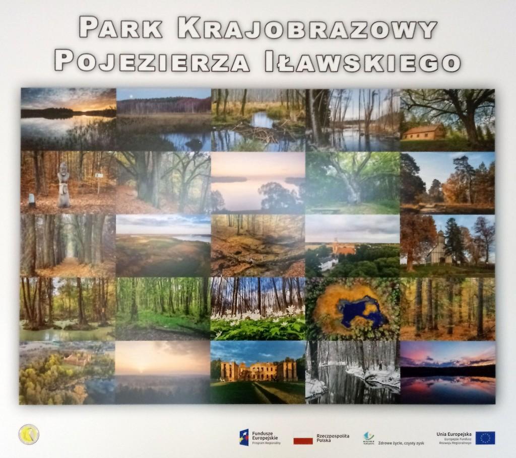 """Plansza tytułowa """"Park Krajobrazowy Pojezierza Iławskiego"""" z mozaiką 25 zdjęć"""