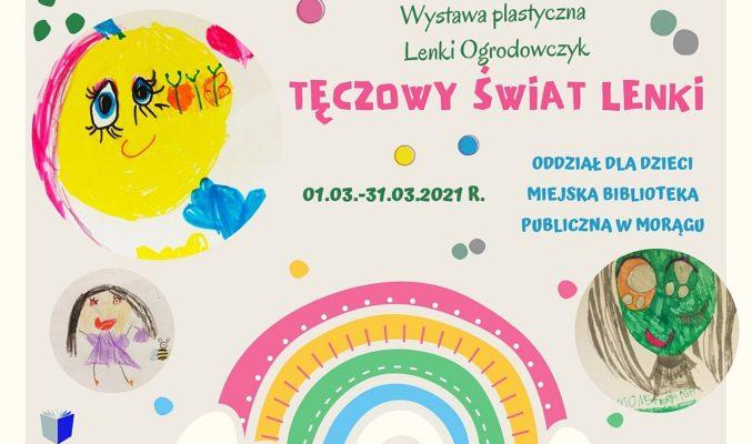 """Plakat wystawy Lenki Ogrodowczyk """"Tęczowy Świat Lenki"""", na plakacie fragmenty rysunków autorki: słońce, tęcza, postacie dziewczynek"""